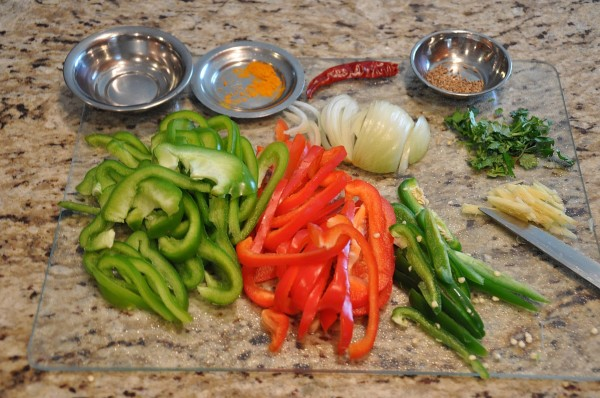 sliced vegetables for a stir fry